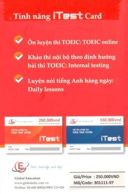 Thẻ Ôn Luyện Thi TOEIC Trực Tuyến - iTest Card (200 Giờ Học, Thi Trong 30 Ngày Liên Tiếp)