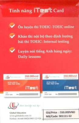 Thẻ Ôn Luyện Thi TOEIC Trực Tuyến - iTest Card (600 Giờ Học, Thi Trong 90 Ngày Liên Tiếp)