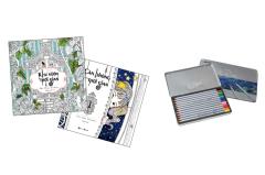 Combo Sách Tô Màu Dành Cho Người Lớn: Căn Phòng Thời Gian + Khu Vườn Thời Gian + Chì Màu Raffine 12M (Hộp Thiếc)