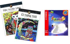 Combo Sách Tô Màu Dành Cho Người Lớn: Mèo Duyên Dáng + Cú Thông Thái + Chì Màu Stabilo Swans CL1869-24