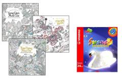 Combo Sách Tô Màu Dành Cho Người Lớn: Một Ngày Đẹp Trời (Bộ 3 Cuốn) + Chì Màu Stabilo Swans CL1869-24
